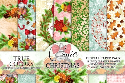 Christmas Digital Paper Pack Watercolor Hand-Painted Printable Red Green Blue Brown Gingerbread Cookie Wreath Cranberry Candy Cane Jar 6x6