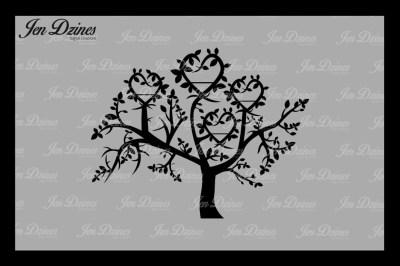 Heart Family Tree 4 Names SVG DXF EPS PNG