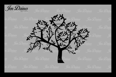Heart Family Tree 5 Names SVG DXF EPS PNG