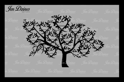 Heart Family Tree 11 Names SVG DXF EPS PNG