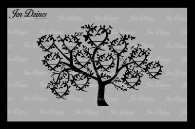 Heart Family Tree 12 Names SVG DXF EPS PNG