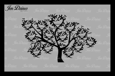 Heart Family Tree 13 Names SVG DXF EPS PNG