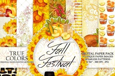 Autumn Thanksgiving Digital Paper Pack Watercolor Hand-Painted Turkey Sunflower Candle Apple Cupcake Leaves Leaf Piligrim Hat Pumpkin 6x6