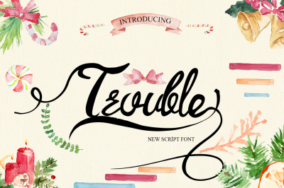 Trouble Script Font and Swashes