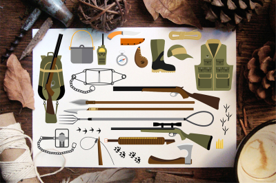 Flat icons of hunting equipment