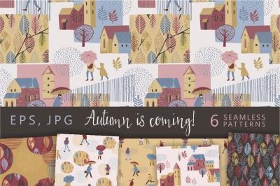 6 autumn seamless patterns