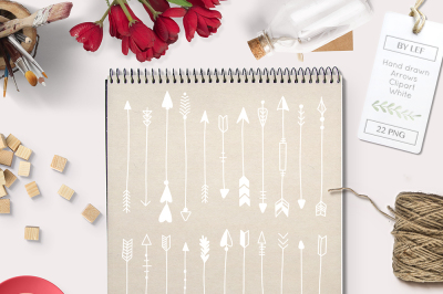 White Handdrawn Arrows 22 PNG Graphics