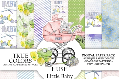 Hush Little Baby Digital Paper Pack Fashion Illustration Planner Stickers Supplies Seamless Watercolor Blue Pink Background Bunny Frog Moon