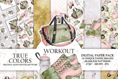 Workout Digital Paper Pack Sport Gym Train Fashion Illustration Planner Stickers Supplies Seamless Watercolor Pink Green Purple Background