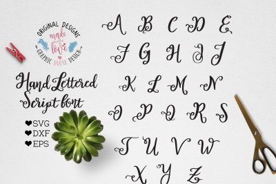 Hand Lettered Script VECTOR Font - Craft font SVG DXF EPS