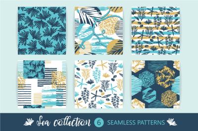6 sea seamless patterns