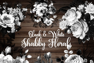 Black and White Shabby Floral Clipart