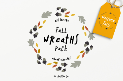 30 Fall Wreaths Vector Pack