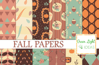 Fall Digital Papers, Thanksgiving Backgrounds, Autumn Scrapbook Papers