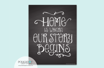 Home is Where Our Story Begins - Chalkboard Style Framable Print
