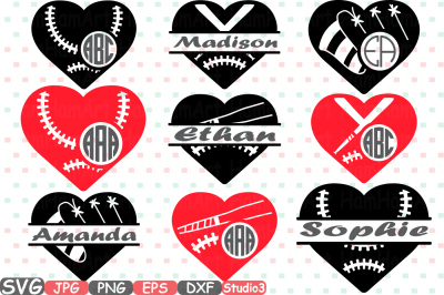 Baseball Heart Split & Circle Silhouette SVG Cutting Files Digital Clip Art Graphic Studio3 cricut cuttable Die Cut Machines love Ball Valentines sports sport stitches softball frame frames 703S