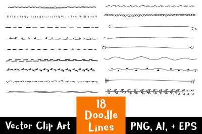 18 Doodle Lines Clipart Set 1, Text Dividers, Wedding Clipart, Border Clipart, Page Divider