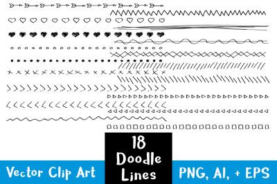 18 Doodle Lines Clipart Set 2, Wedding Clipart, Page Divider, Border Clipart, Line Dividers
