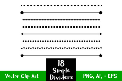 18 Simple Shape Line Dividers, Text Divider Clipart, Page Divider, Border Clipart, Wedding Clipart