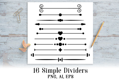 16 Simple Page Dividers Clipart, Wedding Clipart, Border Graphics, Line Divider Clipart, Page Dividers
