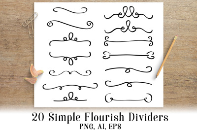 20 Simple Flourish Dividers, Wedding Clipart, Border Clipart, Line Dividers, Text Dividers