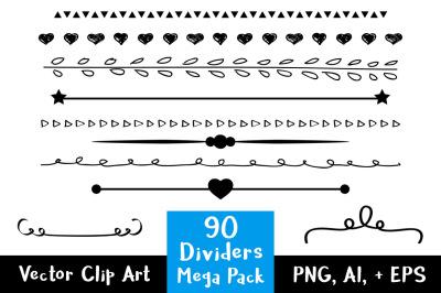 90 Dividers Mega Pack, Wedding Clipart, Line Divider Clipart, Doodle Clipart, Border Clipart