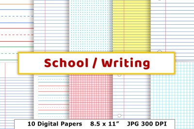 School Digital Papers, Dot Grid Printable, Back to School, Lined Journal Paper