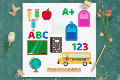 School Clipart Set, Back to School, School Supplies, Education Clipart,