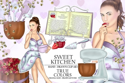 Sweet Kitchen Clip Art Girl Cooking Fashion Illustration Planner Stickers Supplies Watercolor Cookbook Mixer Cake Strawberry Purple DIY