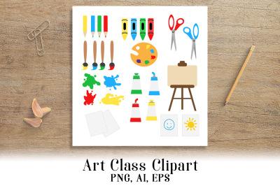 Art Class Clipart, School Clip Art, Back to School Clipart, Art Supplies
