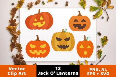 12 Jack O' Lanterns Clipart, Pumpkin SVG, Halloween Clipart, Halloween Pumpkin Clipart, Fall Clipart