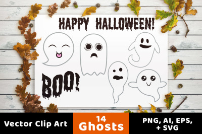14 Ghosts Clipart, Halloween Clipart, Ghost SVG, Halloween SVG, Autumn Clipart, Fall Clipart