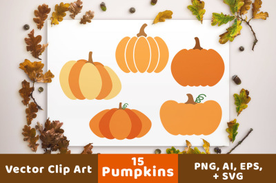 15 Pumpkins Clipart, Pumpkin SVG, Fall Clipart, Halloween Clipart, Halloween SVG, Autumn Clipart