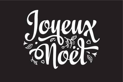 French. Joyeux Noel. Christmas card. Merry Xmas. Winter background. France. Holiday ornament. Christmas logo. Monochrome