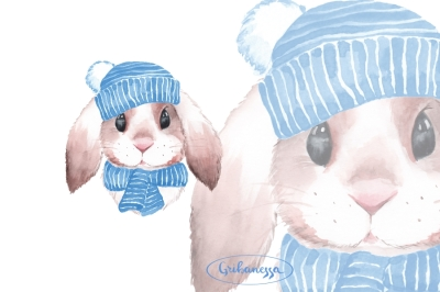 Bunny. Blue hat. Watercolor