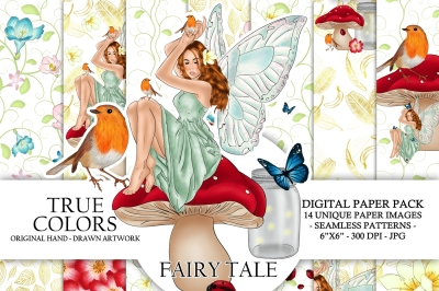 Fairy Tale Digital Paper Pack Fantasy Spring Fashion Illustration Planner Stickers Supplies Seamless Watercolor Gold Foil Bird Background