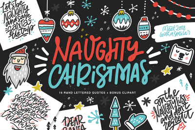 Fun Christmas Lettering & Clipart