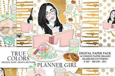 Planner Girl Digital Paper Pack Planning Fashion Illustration Planner Stickers Supplies Seamless Watercolor Gold Foil Donuts Background