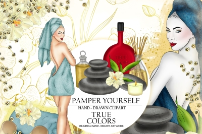 Spa Day Clip Art Relaxation Girl Fashion Illustration Planner Stickers Supplies Blue Watercolor Aroma Candle Lotion Jasmin Towel Sticker DIY