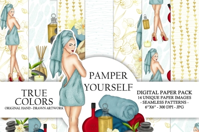 Spa Day Digital Paper Pack Luxury Pampering Girl Fashion Illustration Planner Stickers Supplies Seamless Watercolor Gold Foil Background