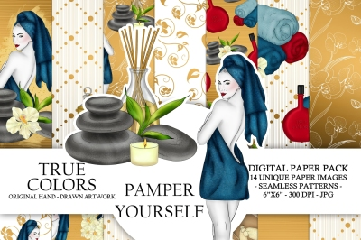 Spa Day Digital Paper Pack Luxury Pampering Girl Fashion Illustration Planner Sticker Supplies Seamless Watercolor Gold Foil Blue Background