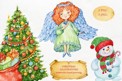 Set Chistmas watercolor angel