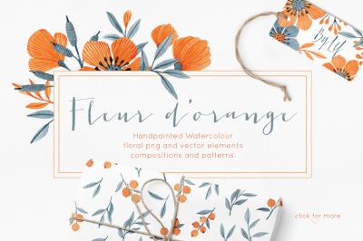 Fleur d'orange huge watercolor orange and blue floral clipart graphics set. Wreaths, patterns, elements and vectors included