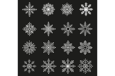 16 Snowflakes set