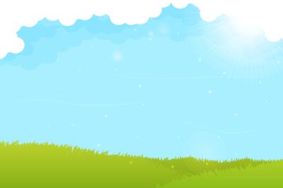 Spring landscape with sunny sky