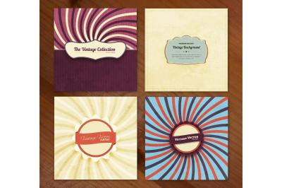 4 Vintage illustrations set + Labels