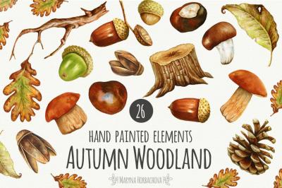 Autumn watercolor woodland set.