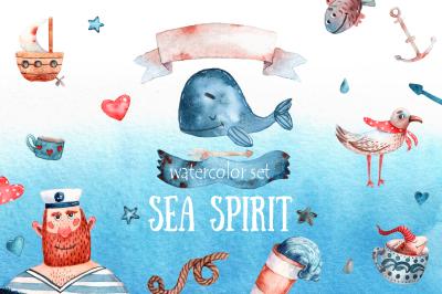 Sea Spirit - Watercolor Clip Art Set