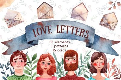 Love Letters - Watercolor Clip Art Set