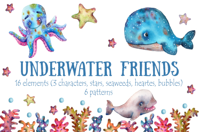 Underwater Friends - Watercolor Clip Art Set